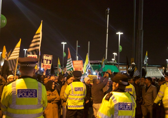 Police Supervising Protesters Outside Wembley